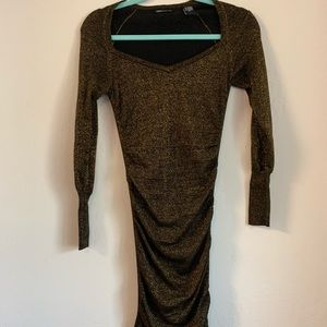 Express gold and black fitted dress